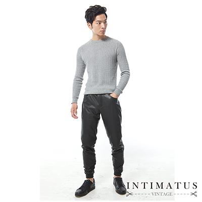 INTIMATUS 真皮 素色拉鍊 縮口長褲 帥氣黑色