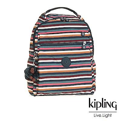 Kipling繽紛仲夏條紋多袋實用後背包-MICAH