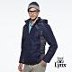 【Lynx Golf】男款防潑水防風保暖科技羽絨Lynx印花連帽可拆式長袖外套-深藍色 product thumbnail 1