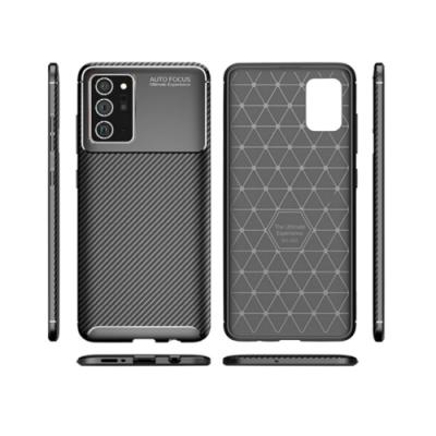 PKG 三星Note20 Ultra 手機殼時尚碳纖紋路+抗指紋-NEW黑