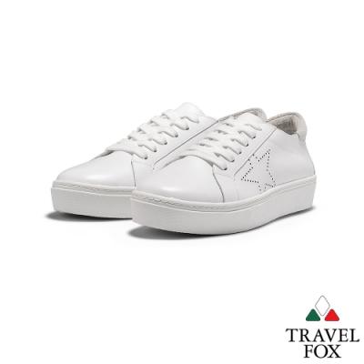 TRAVEL FOX(女) 來自星星的 牛皮綁帶厚底活力休閒鞋 -閃白
