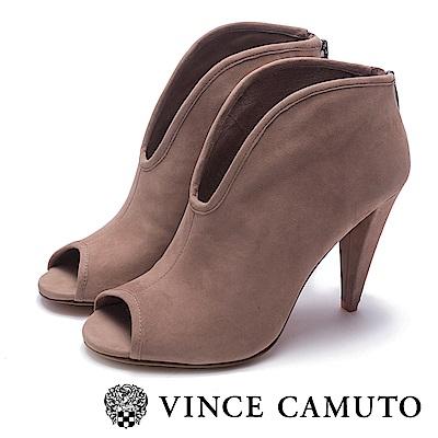 VINCE CAMUTO-真皮V字切口露趾高跟踝靴-絨灰