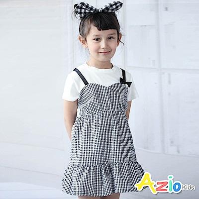 Azio Kids 洋裝 假兩件吊帶拼接格紋短袖洋裝(白)