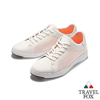TRAVEL FOX(男) 輕雲系列  針織布面輕量抗菌都會運動鞋 - 白色