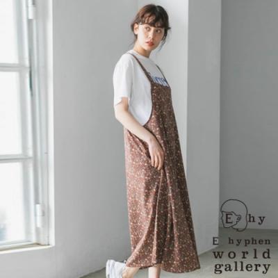 E hyphen 滿版碎花柄圍裙式背心洋裝