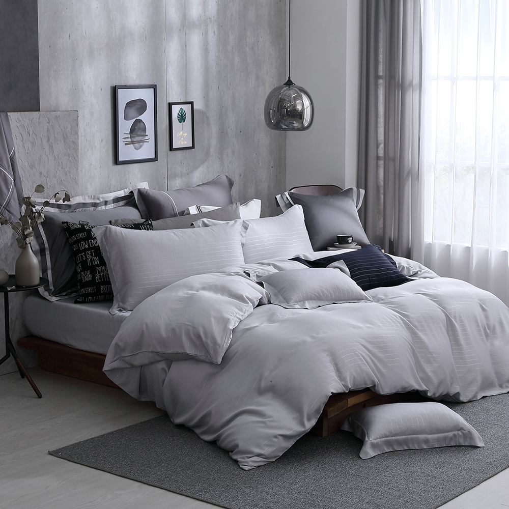 OLIVIA  Mars 銀灰 特大雙人床包兩用被套四件組 300織銀纖維天絲萊賽爾 台灣製