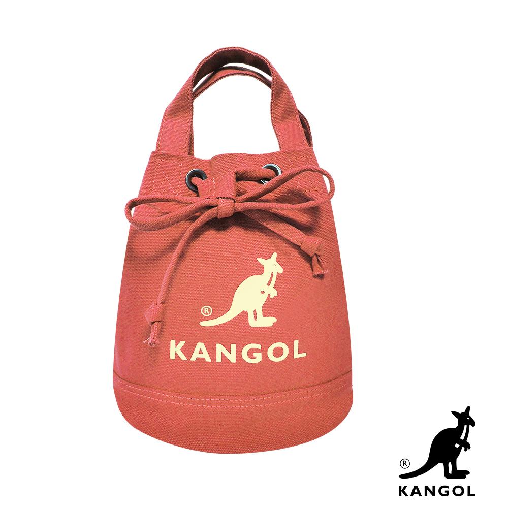 福利品 KANGOL 韓版玩色系列-帆布斜背水桶包-灰橘