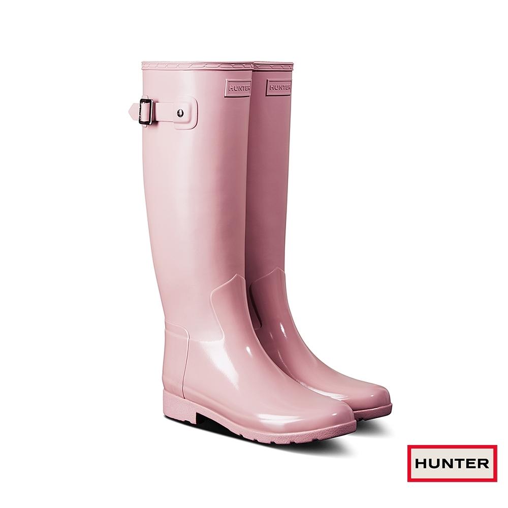 HUNTER - 女鞋-Refined拼接亮面長靴 - 粉