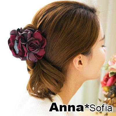 【2件7折】AnnaSofia 雙色綻瓣 純手工中型髮抓髮夾(酒紅灰紫系)