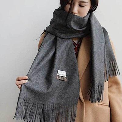 梨花HaNA 冬日極暖手感黃金絨SKY純色系列圍巾-深灰