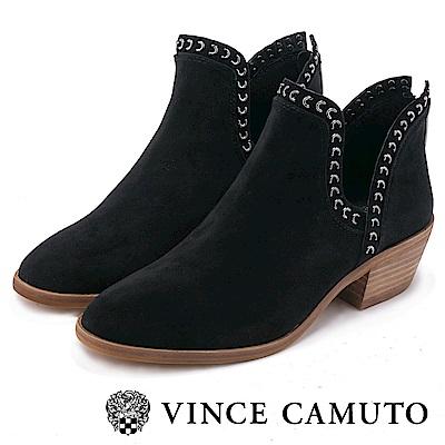 VINCE CAMUTO 側V鉚釘真皮中跟踝靴-黑色
