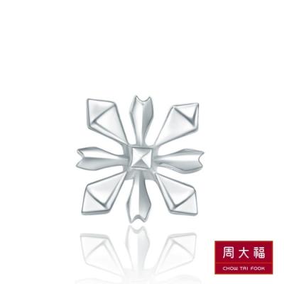 周大福 迪士尼公主系列冰雪奇緣雪花18K白金耳環(單耳)