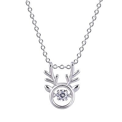 iSFairytale伊飾童話 小鹿之心 水鑽銅電鍍銀項鍊