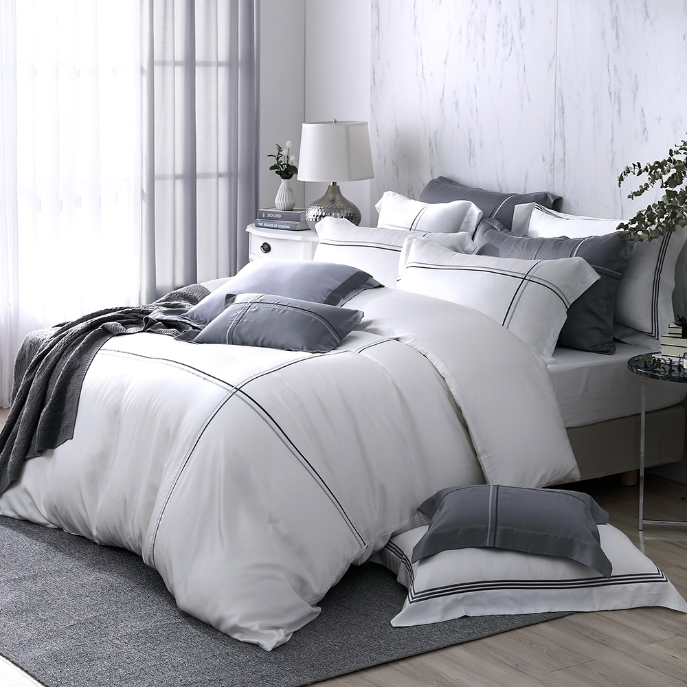 OLIVIA  Alma 白 標準雙人床包兩用被套四件組 300織天絲萊賽爾 台灣製