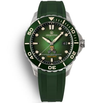 elegantsis 海軍陸戰隊兩棲 機械錶 鈦金屬 防水300米 矽膠手錶-綠色/44mm