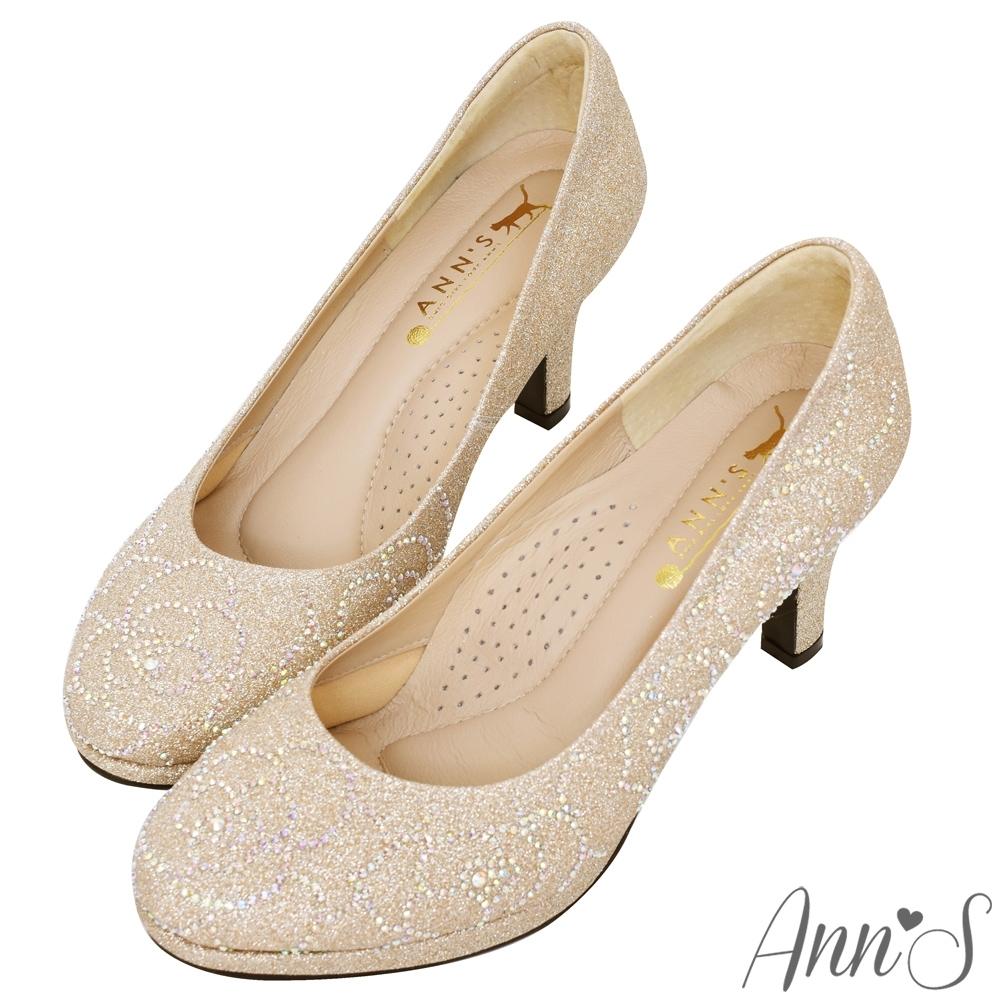 Ann'S璀璨玫瑰手工燙鑽-防水台圓頭高跟婚鞋-金