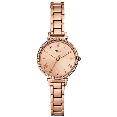FOSSILKinsey復古晶鑽時尚手錶(ES4447)-玫瑰金/28mm