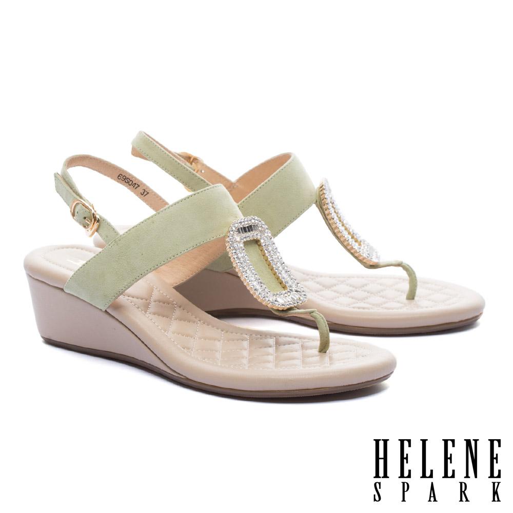 涼鞋 HELENE SPARK 璀璨晶鑽方飾釦羊麂皮T字楔型高跟涼鞋-綠