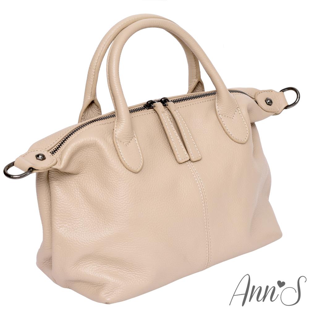 Ann'S小版質感全牛皮訂製雙拉鍊2WAY貝殼包-奶茶粉杏