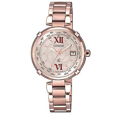 CITIZEN XC優雅花漾電波光動能腕錶(EC1048-54W)