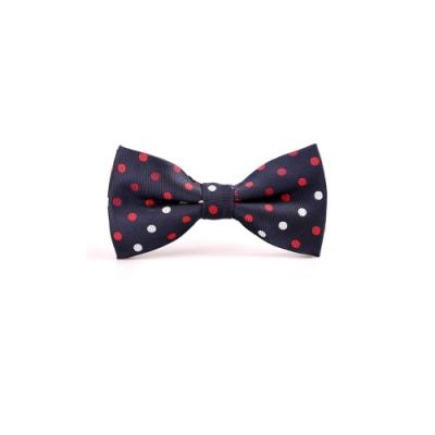 Laifuu拉福,紅白點點色織領結新郎結婚領結糾糾兒童領結(藍底紅白點款)