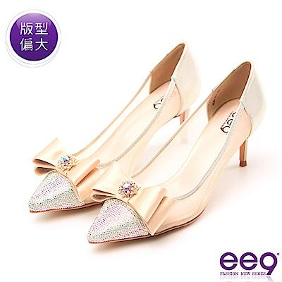 ee9 高雅氣質典雅蝴蝶結鑲嵌亮鑽跟鞋 金色