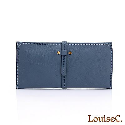 LouiseC.清新自然輕薄牛皮長夾-藍色HGSB710602-09