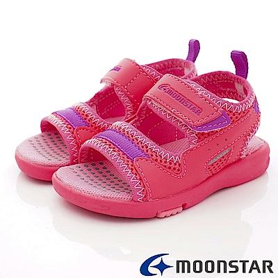 日本月星頂級競速童鞋  輕Q止滑涼鞋款 ON454桃(中小童段)