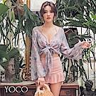 東京著衣-YOCO  花漾滿溢繞脖裙裝三件套泳衣-S.M.L