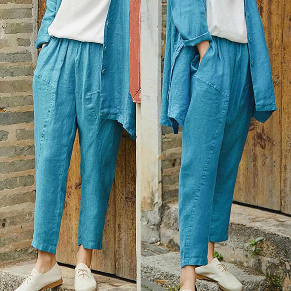 訂製孔雀藍色織亞麻褲-設計所在