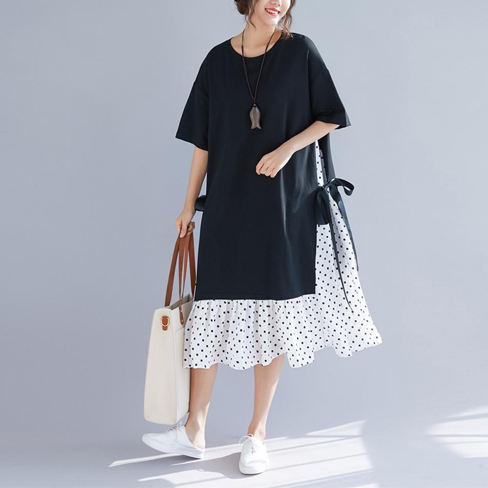 La Belleza圓領棉質拼接側綁緞帶下擺圓點魚尾裙擺洋裝
