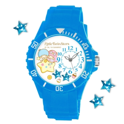 Sanrio三麗鷗偏機芯貼鑽系列運動彩帶錶-KIKI LALA雙星仙子40mm水藍色