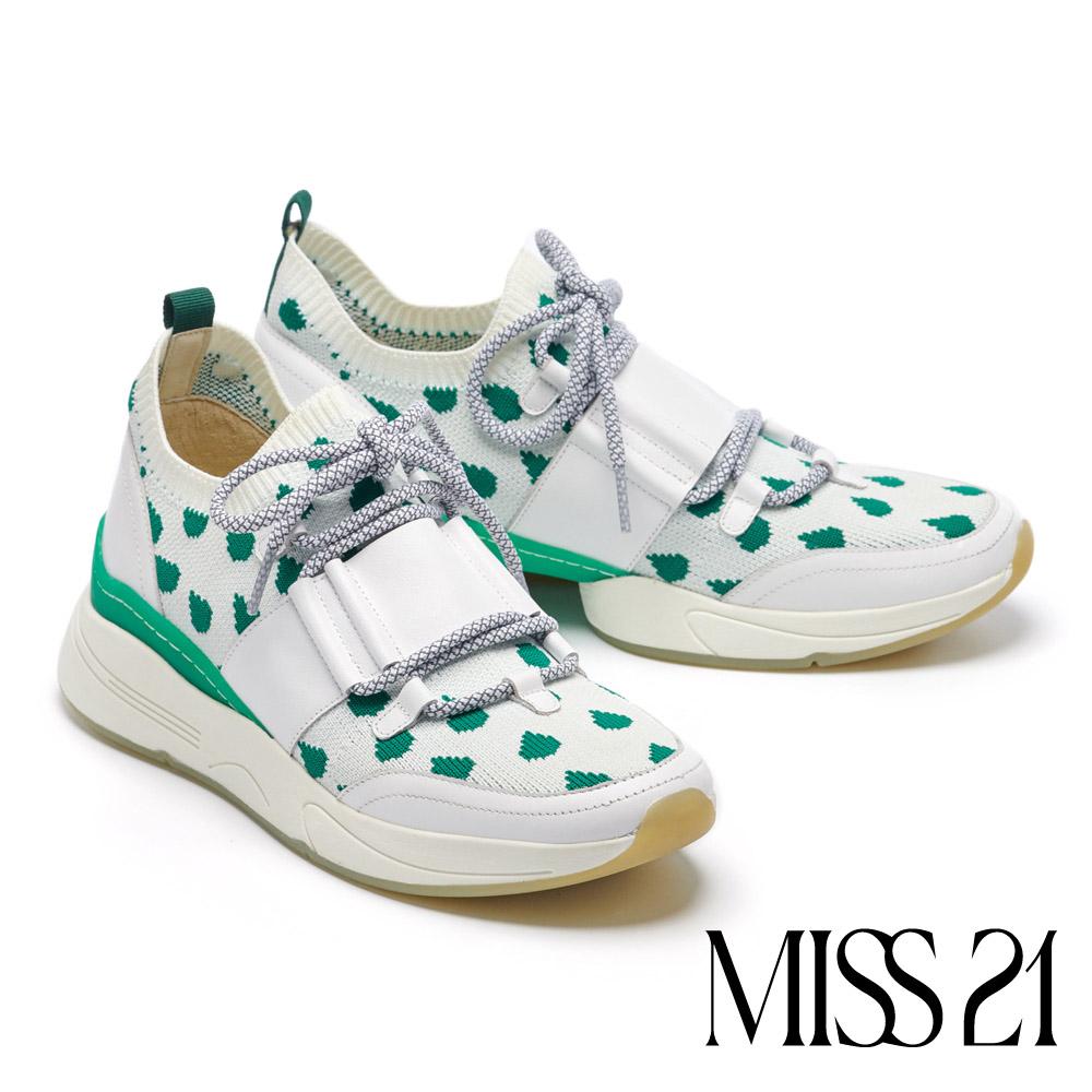 休閒鞋 MISS 21 復古童趣水滴飛織撞色厚底休閒鞋-白