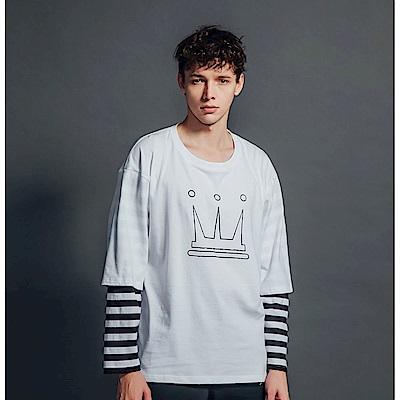 DADA SUPREME 皇冠八分袖運動假兩件上衣-男款-黑白條紋