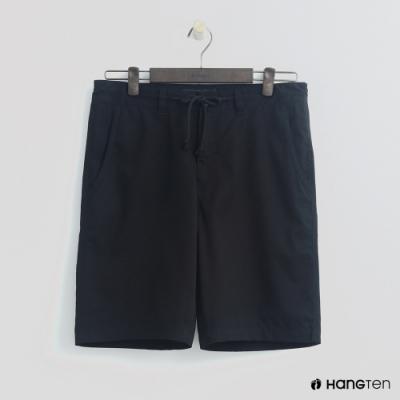 Hang Ten - 男裝 - 簡約綁帶棉質休閒短褲-黑