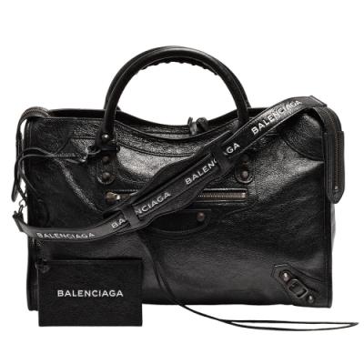 BALENCIAGA 經典CITY LOGO STRAP古銅金扣小羊皮手提/肩背機車包(黑)
