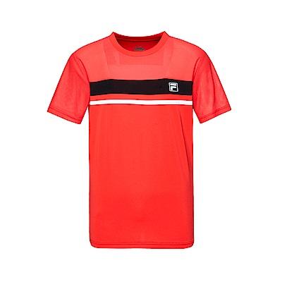 FILA 男款抗UV吸濕排汗T恤-桔紅 1TET-1301-OR