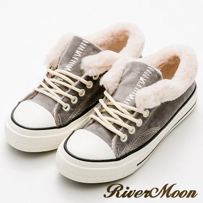 River&Moon韓版暖暖內鋪毛超短筒靴休閒鞋-灰