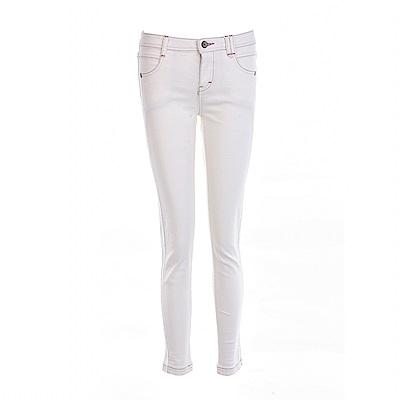 gozo 車線裝飾修身彈性丹寧褲(白色)