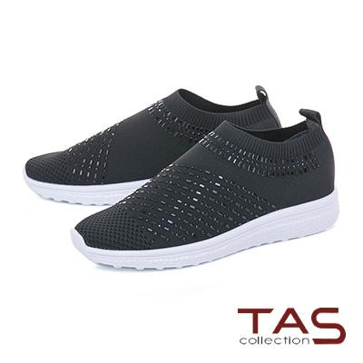 TAS水鑽彈力飛織布懶人休閒鞋-實搭黑