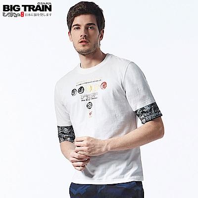 BigTrain翻轉潮流配色五分袖T-男-白色