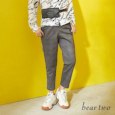 beartwo 經典復古格紋側邊壓條造型長褲(黑色)