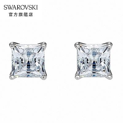 SWAROVSKI 施華洛世奇 Attract 白金色方形璀璨寶石穿孔耳環