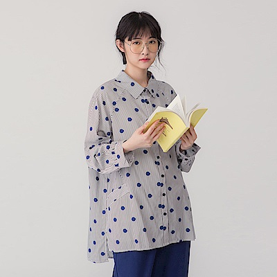 【MOSS CLUB】 法式圓點條紋-上衣(共二色)