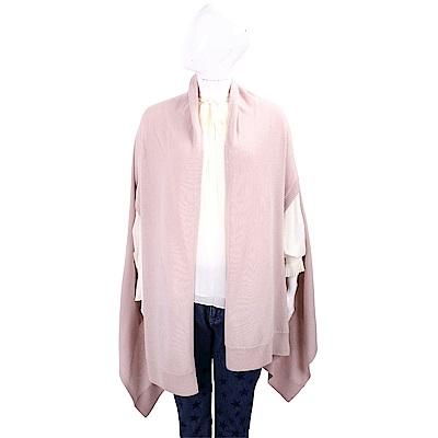 MARELLA 純色羊毛開襟粉紅罩衫/披肩