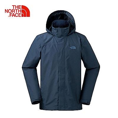 The North Face北面男款藍色防水透氣防風外套