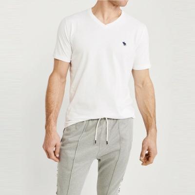 麋鹿 AF A&F 經典V領電繡麋鹿素面短袖T恤(BONL)-白色