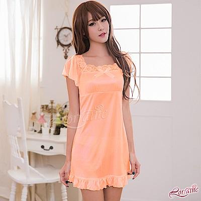 性感睡衣 粉橘蕾絲小蓋袖柔緞睡衣(橘F) Lorraine