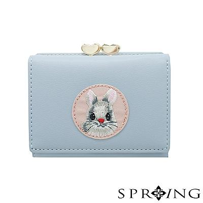 SPRING-甜萌愛心扣刺繡兔兔短夾-優雅藍