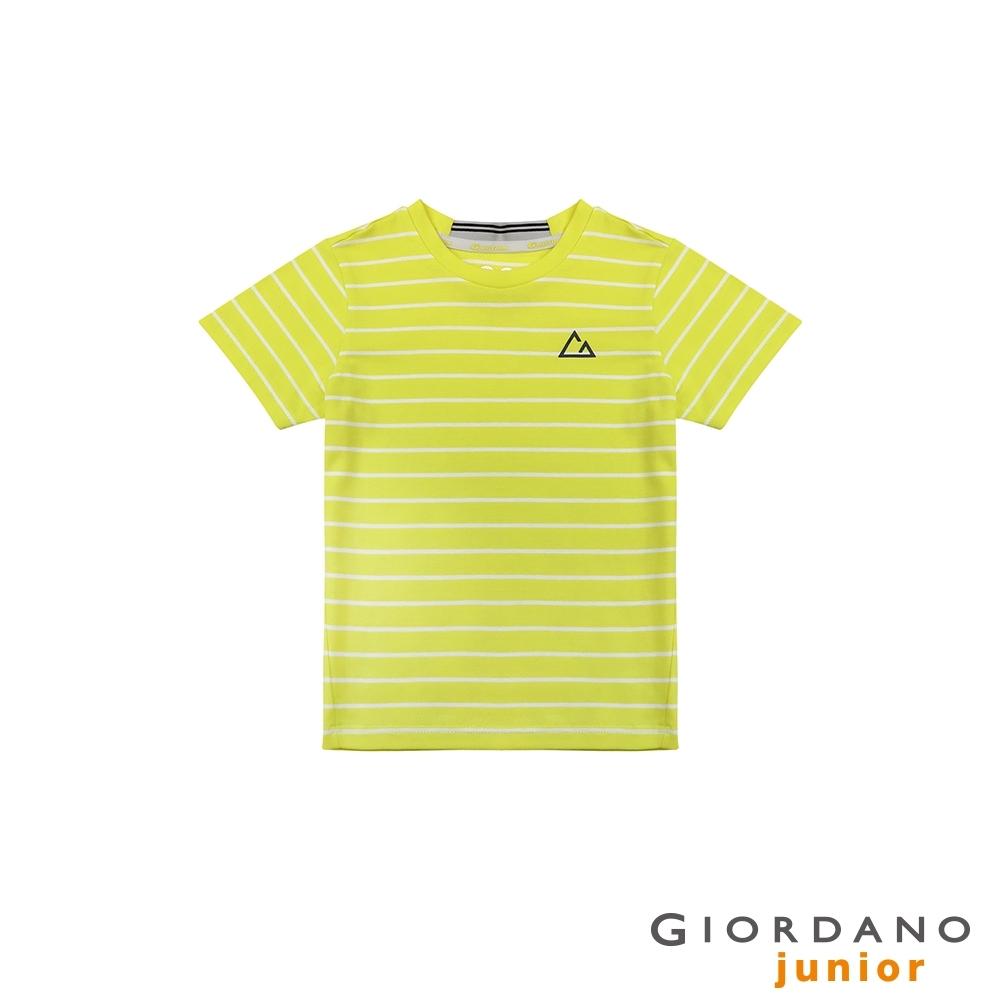 GIORDANO  童裝G-MOTION條紋運動彈力T恤-98新硫磺泉黃/皎雪